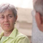 Barb Hoar of Red Deer, AB, listening as her husband Jack Hoar